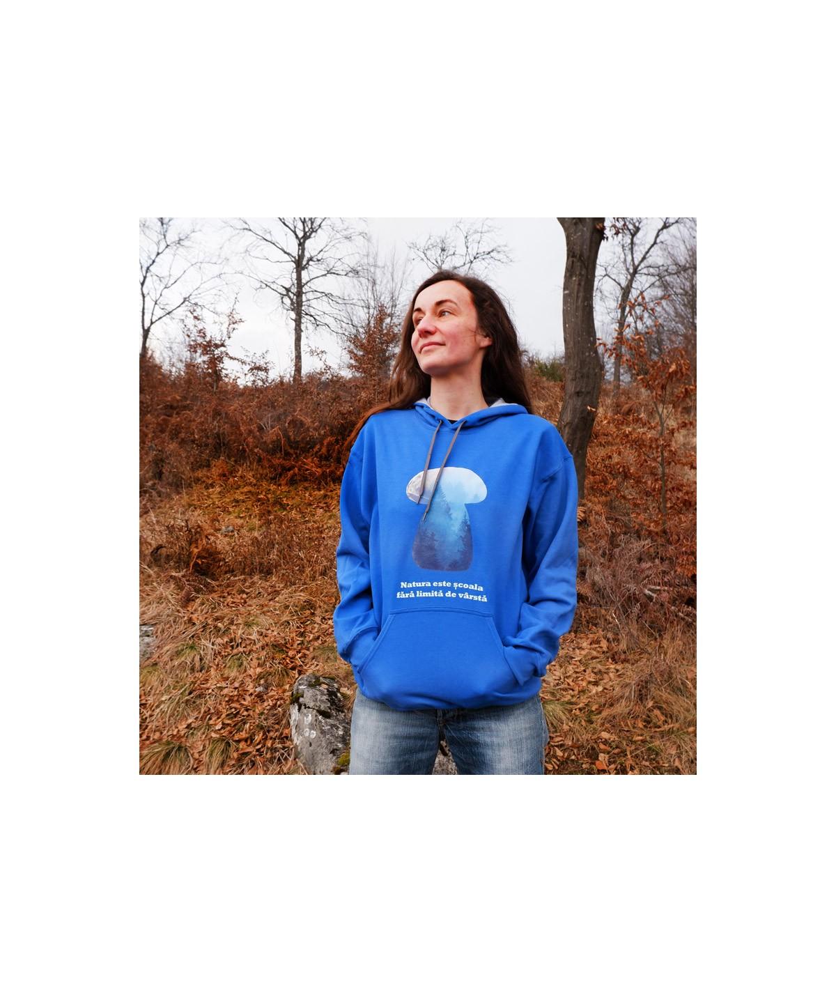 Hanorac unisex albastru ciuperci
