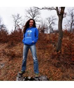 Hanorac unisex albastru ciuperci distanta