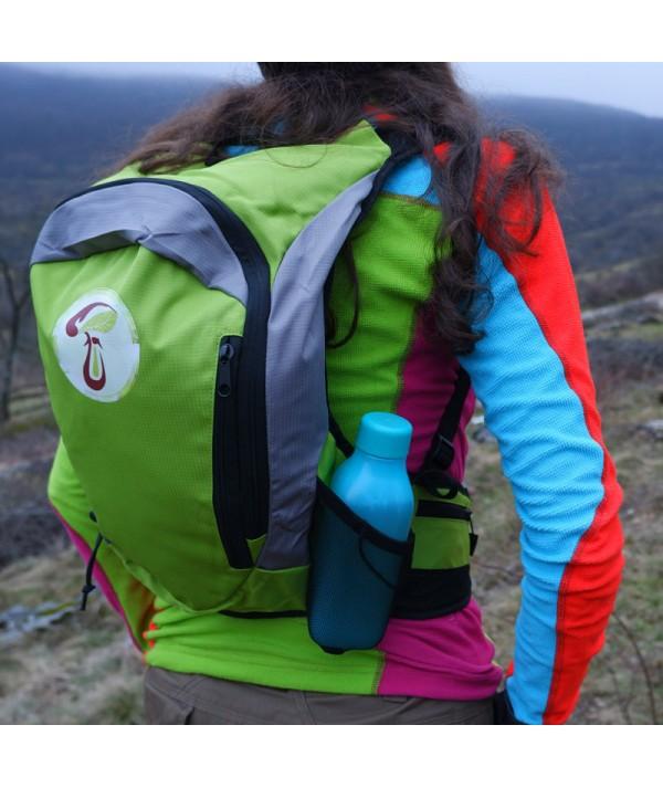 Rucsac de hiking / alergare verde cu sigla IncrEdible - buzunar lateral de plasă