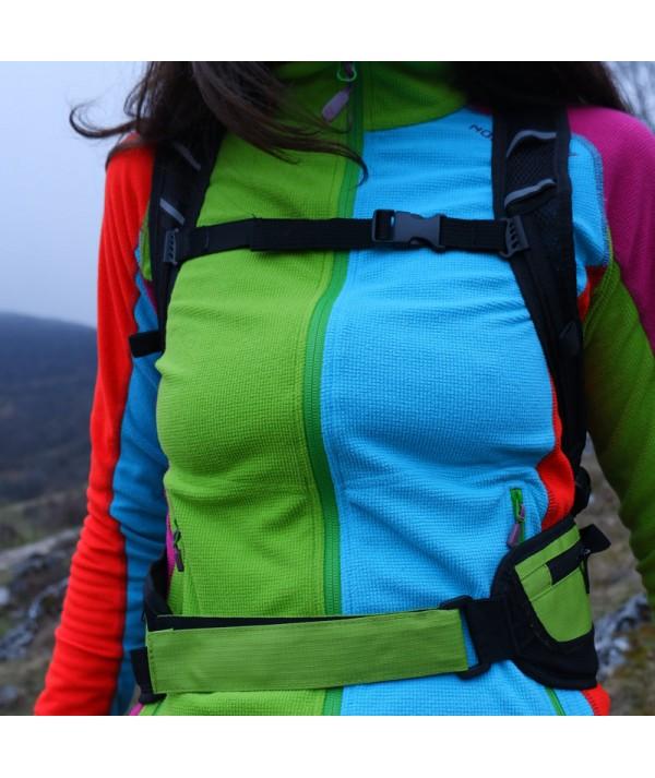 Rucsac de hiking / alergare verde cu sigla IncrEdible - închidere cu scai la brâu și închidere cu trident la piept
