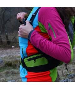 Rucsac de hiking / alergare verde cu sigla IncrEdible - buzunar lateral cu fermoar pe brâu și închidere cu trident la piept