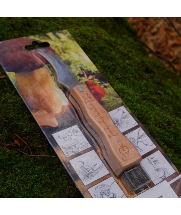 Cutit tip brisca de cules ciuperci - pentru ciupercarit - lama curbata, periuta de curatat